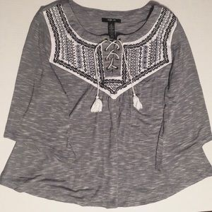 Style & Co Embroidered Boho Top